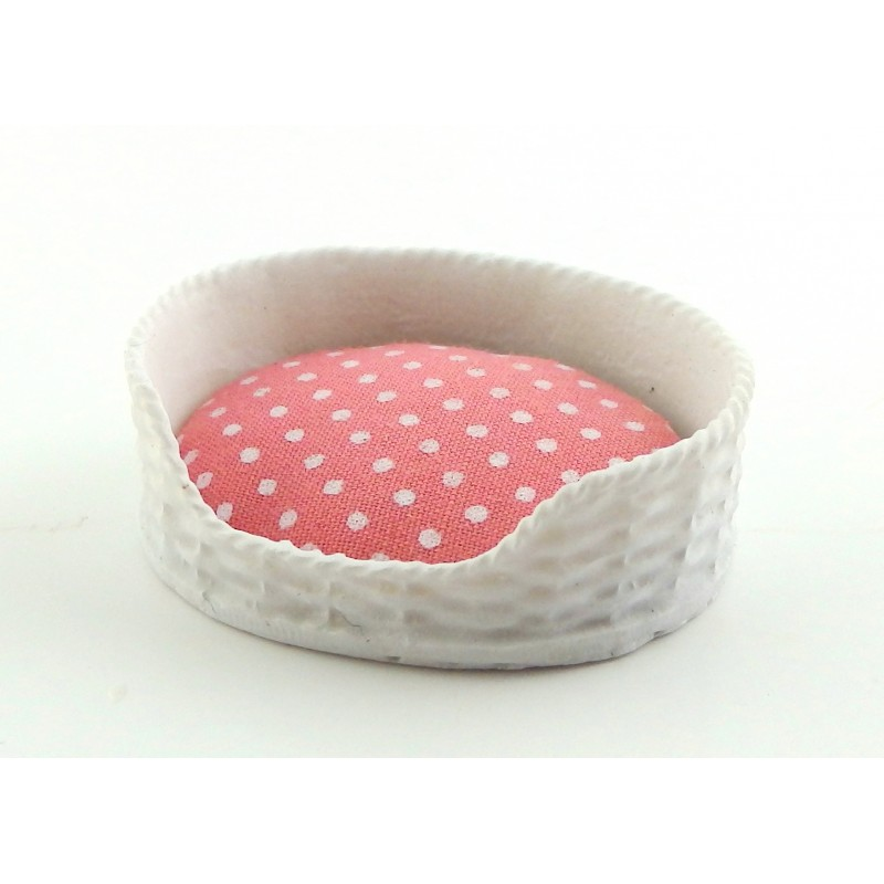 Dolls House Pink & White Dog Cat Bed Basket & Cushion Miniature Pet Accessory