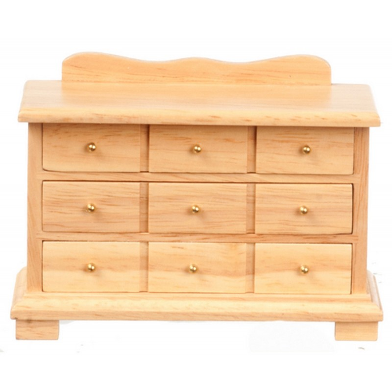 Dolls House Light Oak Triple Chest of Drawers Miniature Bedroom Furniture