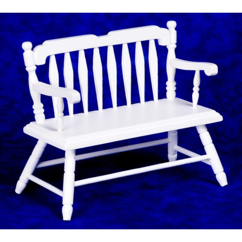 Dolls House White Wood Deacon's Bench Miniature 1:12 Scale Wooden Furniture