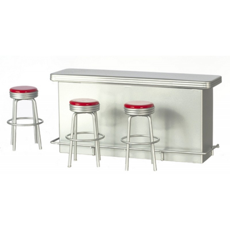Dolls House Silver Breakfast Bar Counter & Red Stools Cafe Kitchen Furniture