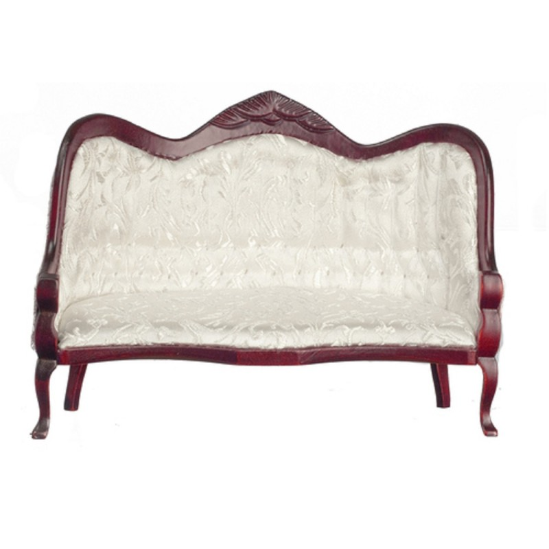 Dolls House Victorian Mahogany White Sofa Miniature Living Room Furniture