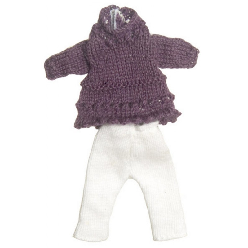 Dolls House Modern Girl's Outfit Purple Jumper White leggings Miniature Clothing