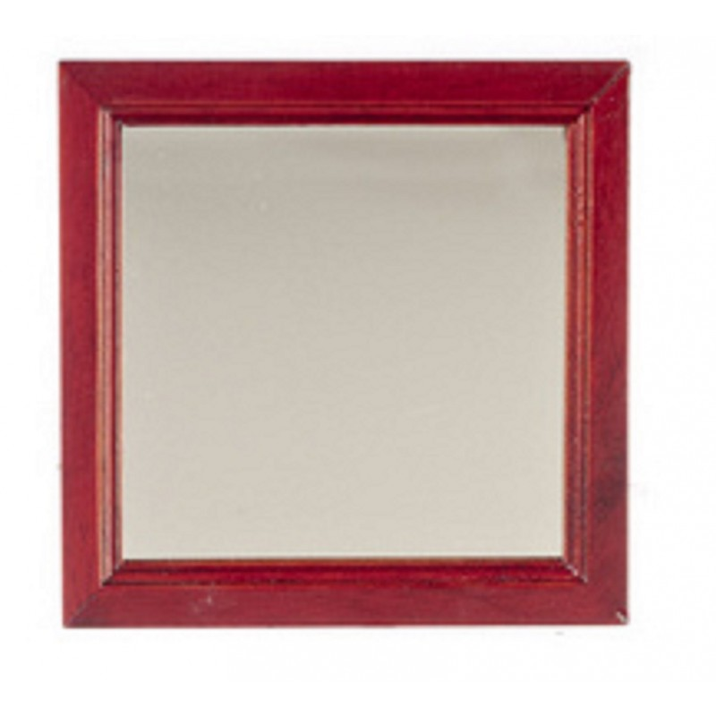Dolls House Large Square Mahogany Wooden Framed Wall Mirror Miniature Accessory
