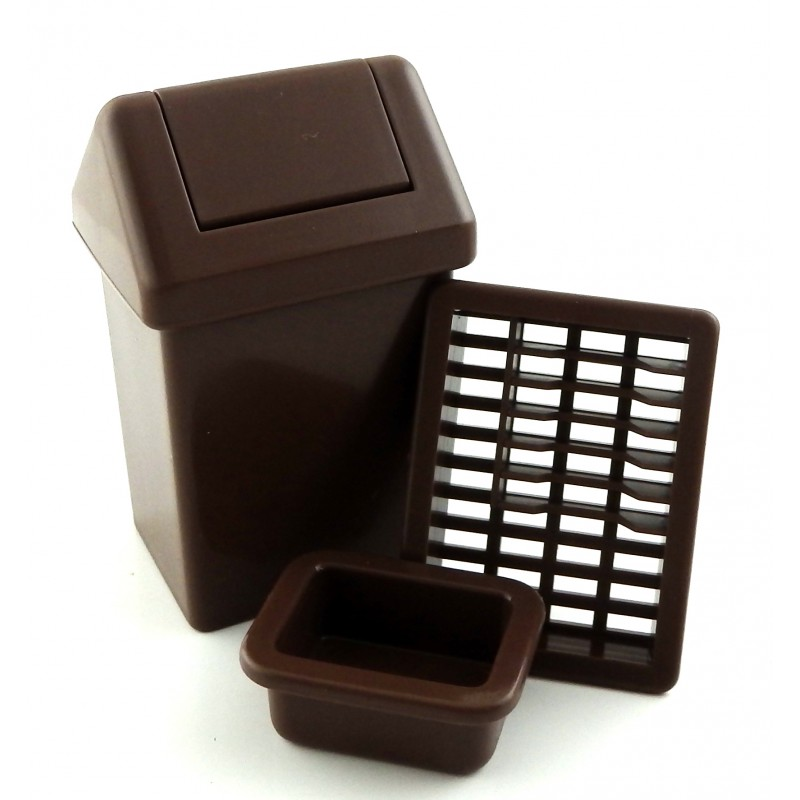 Dolls House Swing Bin Dish Drainer & Washing Up Bowl Kitchen Accessory Set Brown