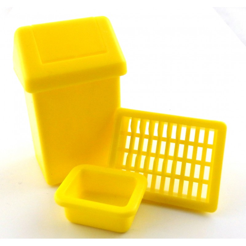 Dolls House Swing Bin, Dish Rack & Washing Up Bowl Kitchen Accessory Set Yellow