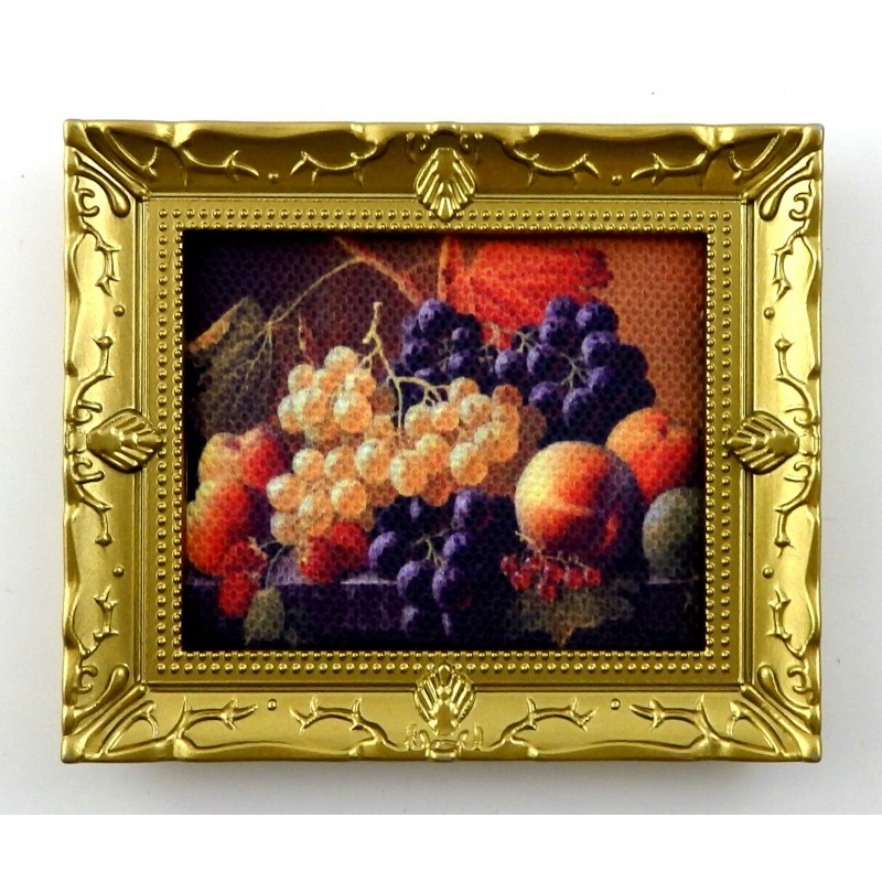 Dolls House Miniature Accessory Fresh Fruit Still Life Painting in Gold Frame