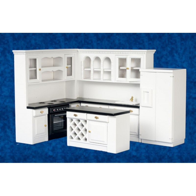 Dolls House Modern Black & White Miniature Kitchen Furniture Set
