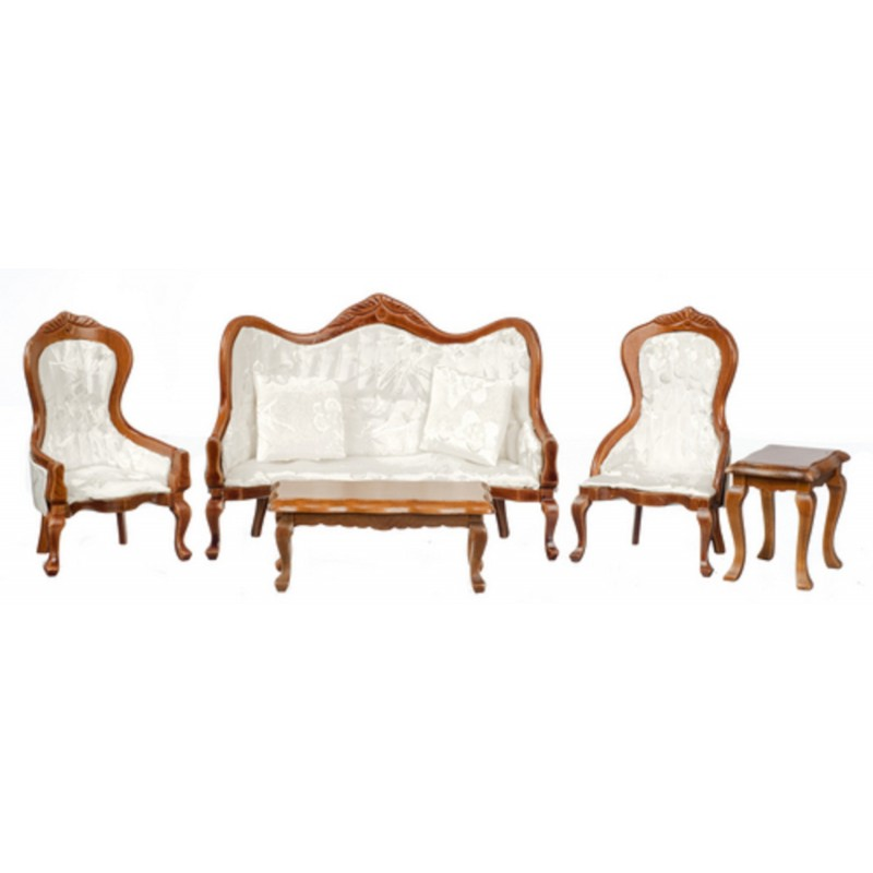 Victorian White Living Room Furniture Set Walnut Sofa Town Square Miniatures Melody Jane Doll Houses