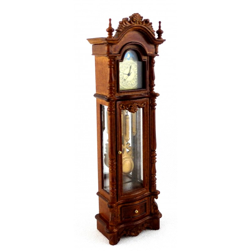 Dolls House Working Walnut Chippendale Revival Grandfather Clock Miniature JBM