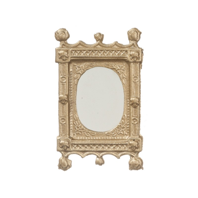 Dolls House Artisan Miniature Accessory Small Gold Metal Ornate Mirror