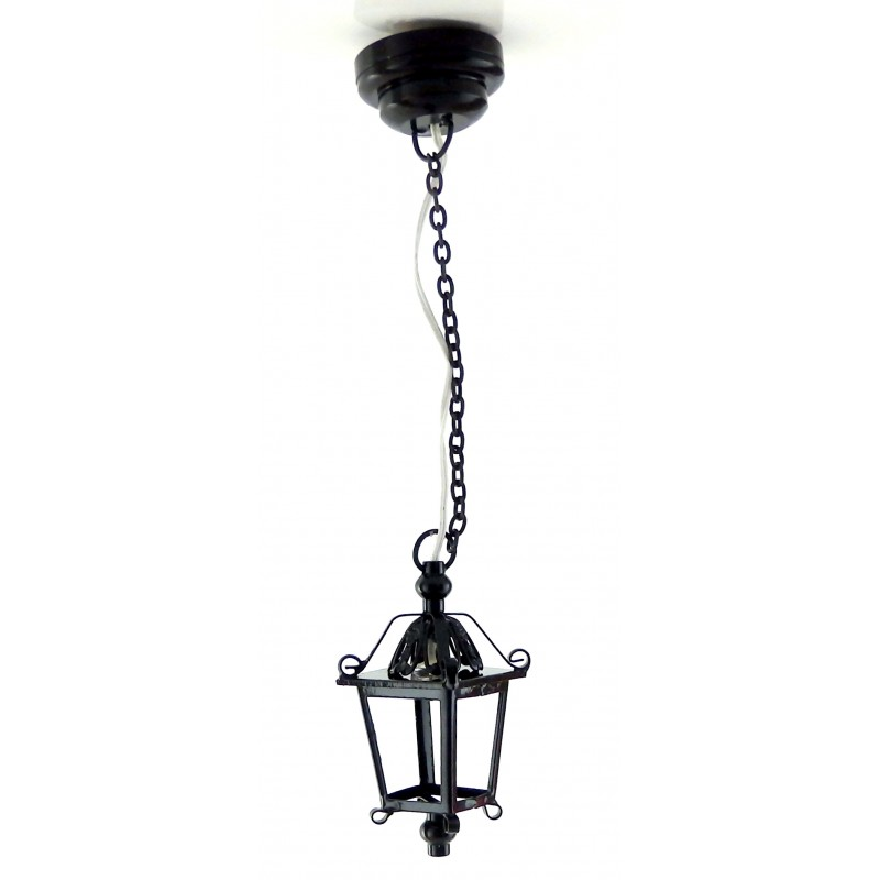 Melody Jane Dolls House Black Hanging Lantern Lamp Miniature LED Battery Light