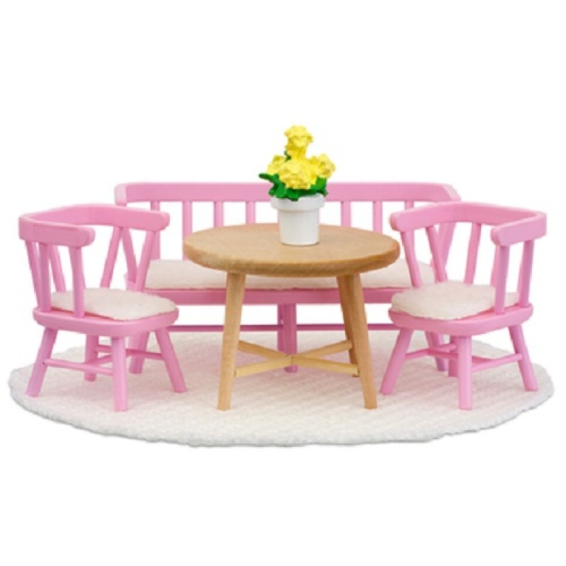 Lundby Smaland 1:18 Scale Dolls House Kitchen Furniture Table Chairs Bench Set