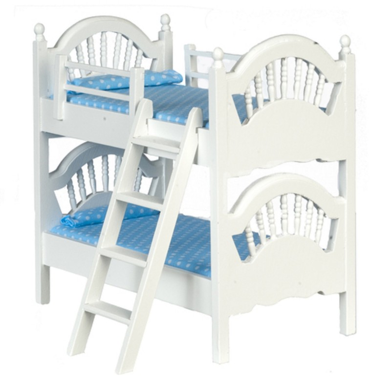 Dolls House White Spindle Bunk Beds Miniature Bedroom Furniture