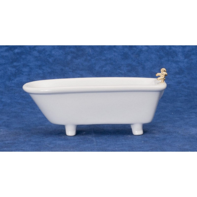 Dolls House Miniature 1:12 Bathroom Furniture Plain White Porcelain Bath Tub