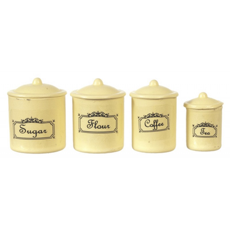 Cream Metal Canister Set Storage Jars Kitchen Classics By Handley House Melody Jane Doll Houses
