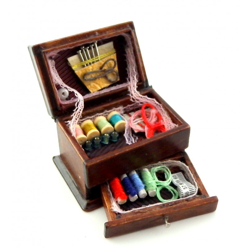 Dolls House Full Needlework Box Miniature 1:12 Scale Sewing Room Accessory