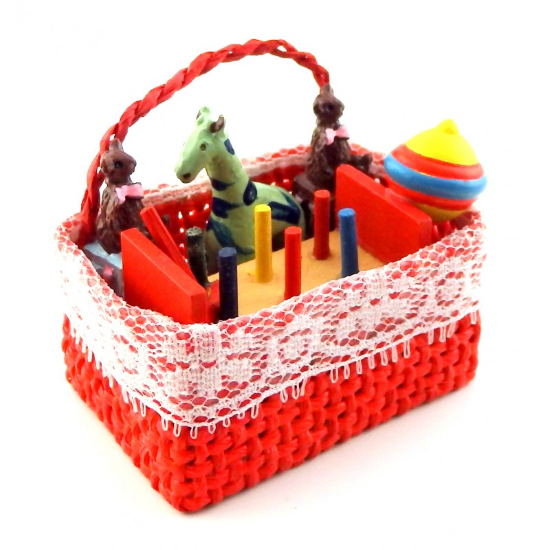 Dolls House Red Basket Full of Toys Miniature Nursery Kids Bedroom Accessory