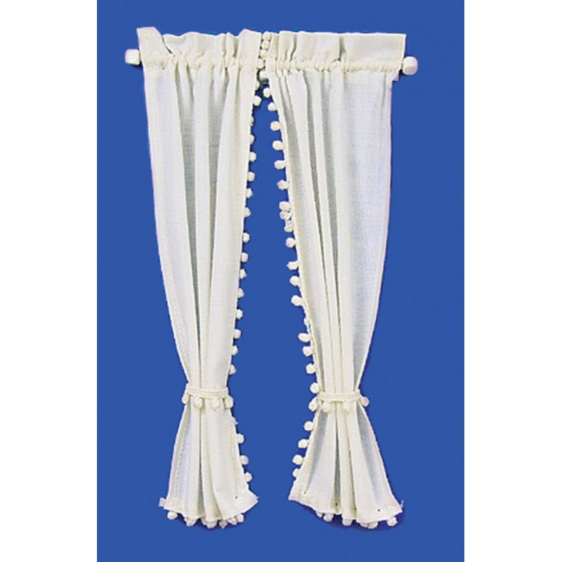Dolls House Cream Curtains on Rail Miniature 1:12 Scale Window Accessory