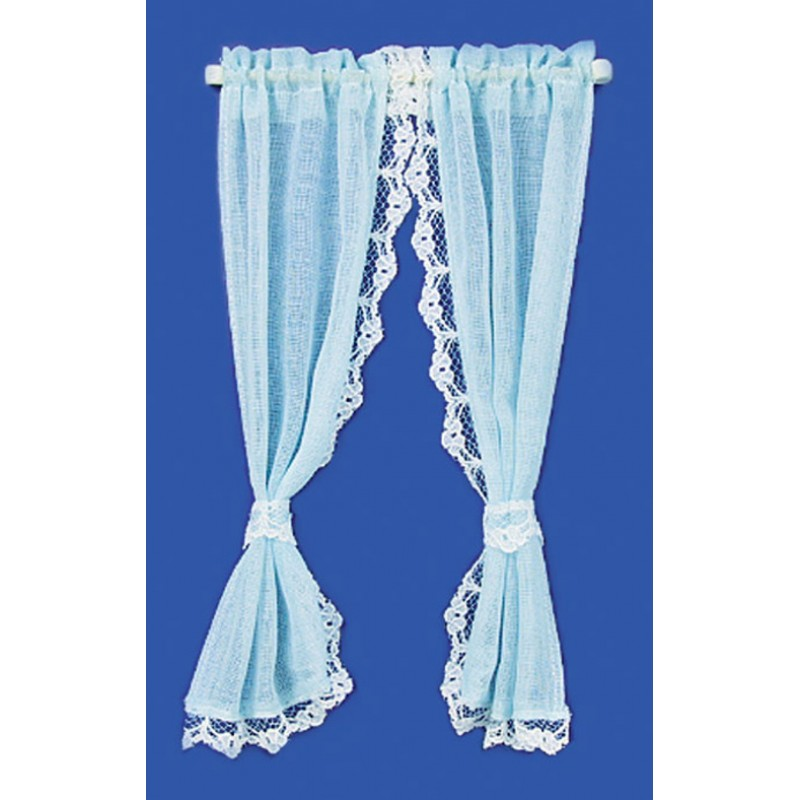 Dolls House Blue Sheer Curtains on Rail Miniature 1:12 Scale Window Accessory