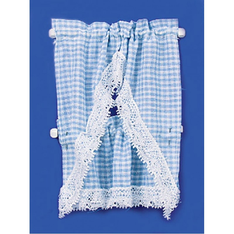 Dolls House Blue Gingham Kitchen Curtains & Valance on Rail Miniature Accessory