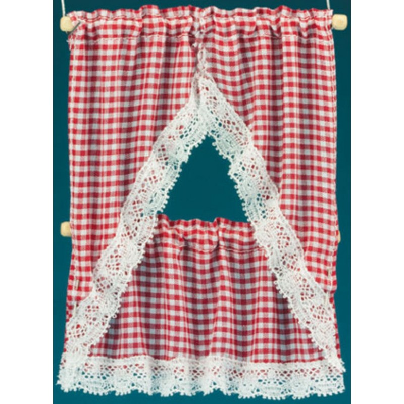 Dolls House Red Gingham Kitchen Curtains & Valance on Rail Miniature Accessory