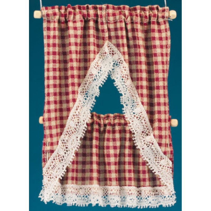 Dolls House Red Beige Gingham Country Kitchen Curtains & Valance 1:12 Accessory