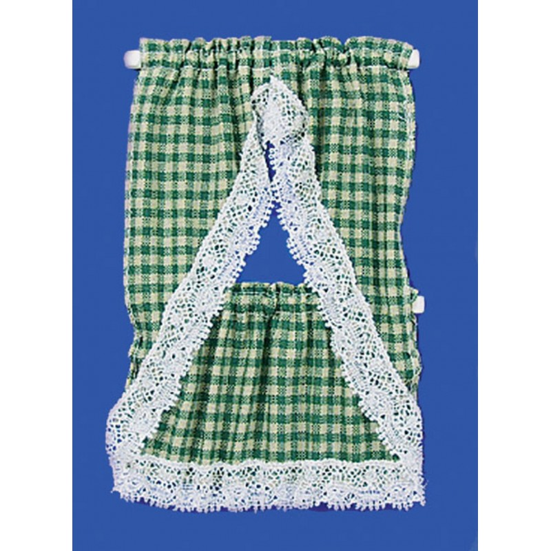 Dolls House Green Beige Gingham Country Kitchen Curtains & Valance 1:12 Scale