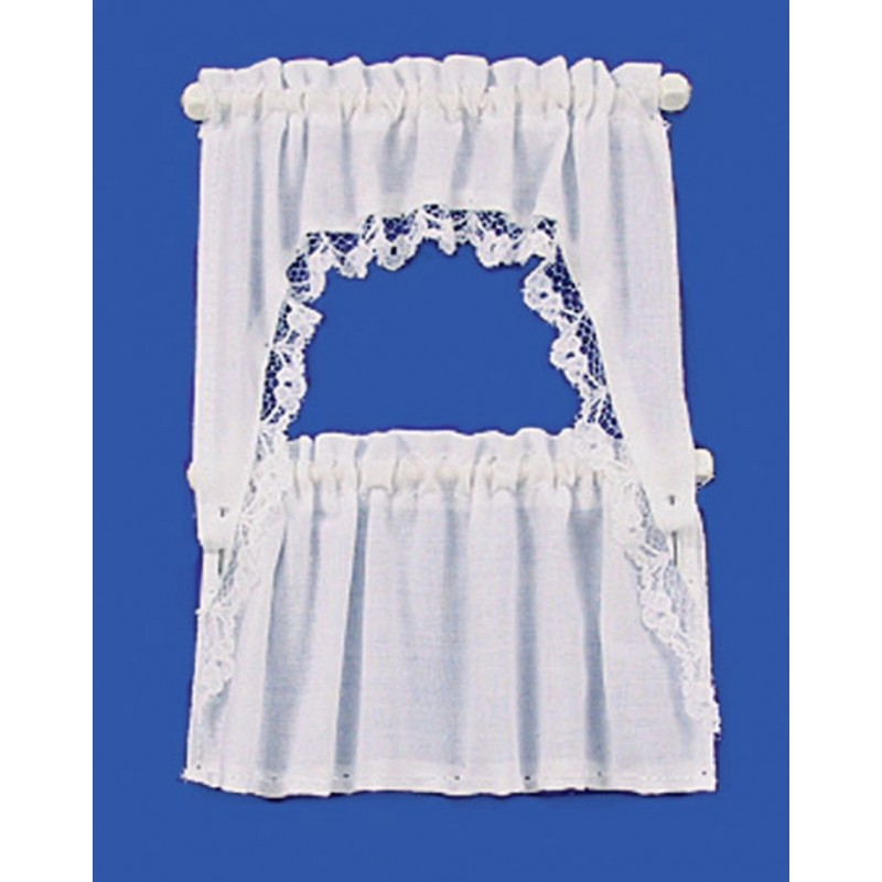 Dolls House White Curtain & Valance Set on Rails Miniature Window Accessory
