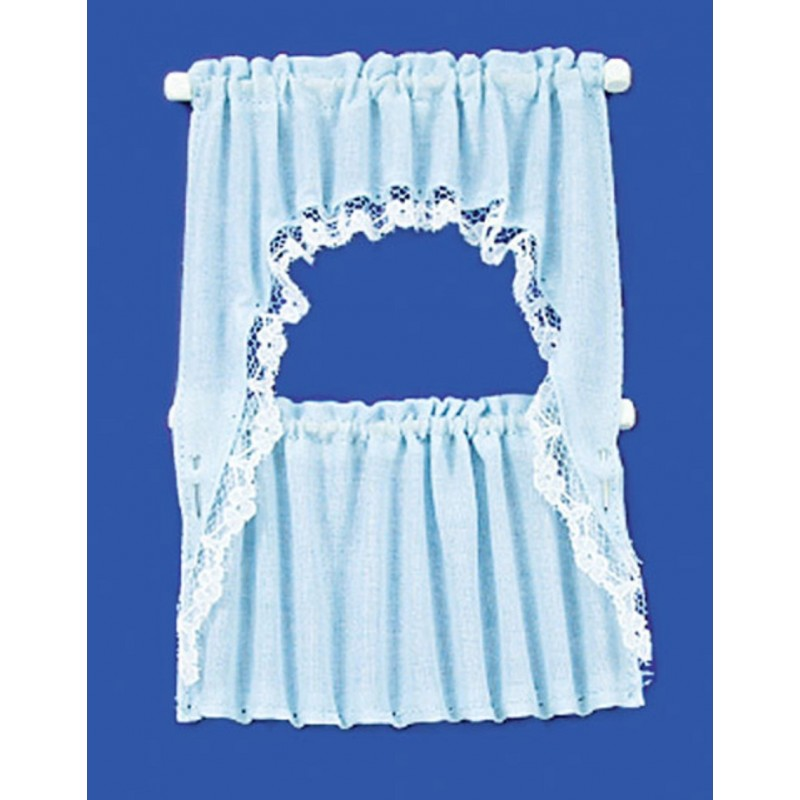 Dolls House Blue Curtain & Valance Set on Rails Miniature Window Accessory