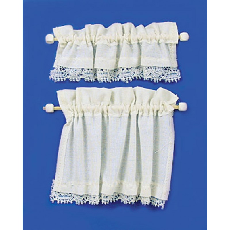 Dolls House Cream Curtain & Pelmet Set on Rails Miniature 1:12 Window Accessory