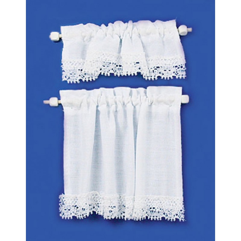 Dolls House White Curtain & Pelmet Set on Rails Miniature 1:12 Window Accessory