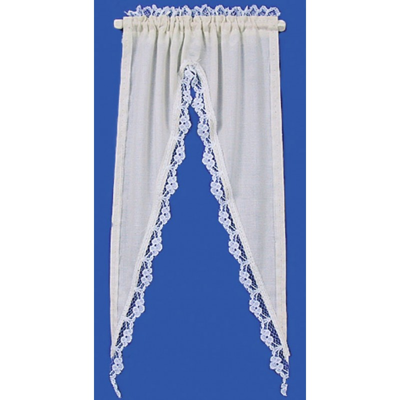 Dolls House Cream Tiffany Ruffle Curtains on Rail Miniature Window Accessory