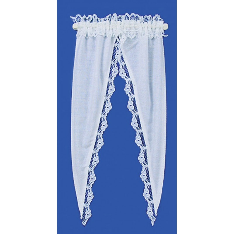 Dolls House White Tiffany Ruffle Curtains on Rail Miniature Window Accessory