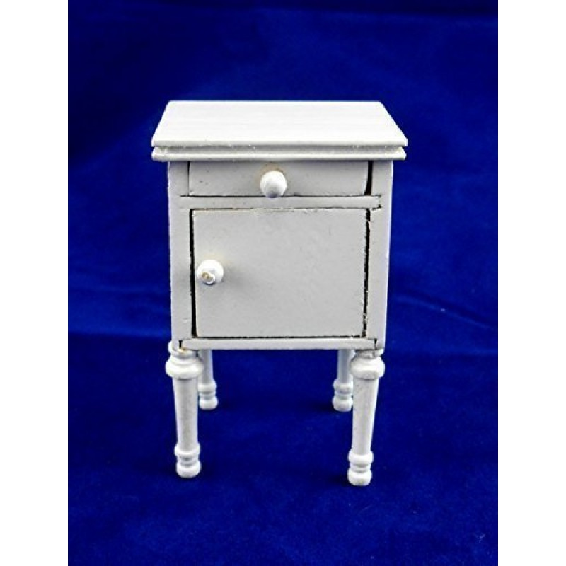 Dolls House Miniature Bedroom Furniture Shabby Chic White Bedside Cabinet