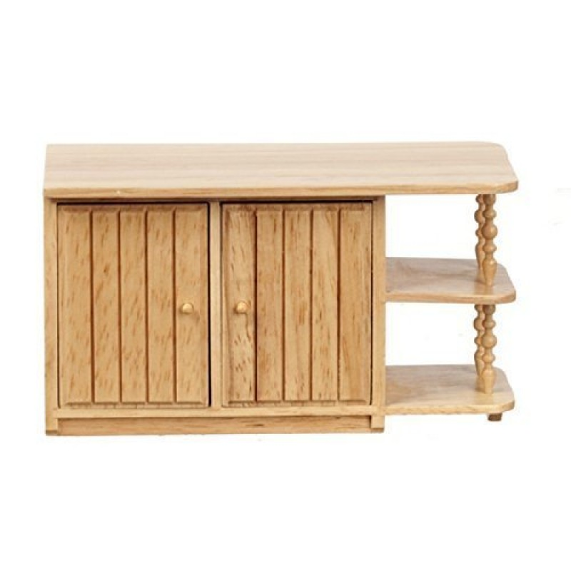 Dolls House Light Oak Centre Island Unit Miniature Kitchen Furniture