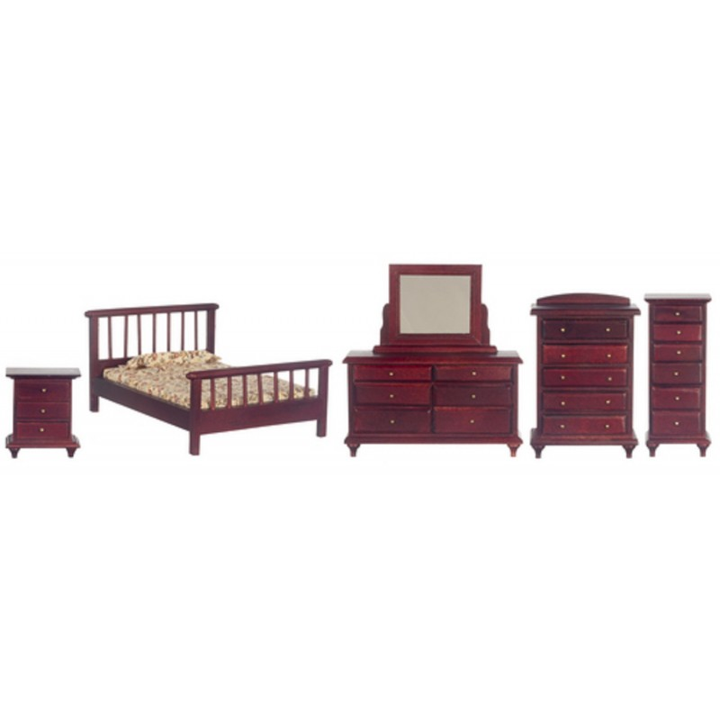 Dolls House Mahogany Double Bedroom Furniture Set Miniature Suite