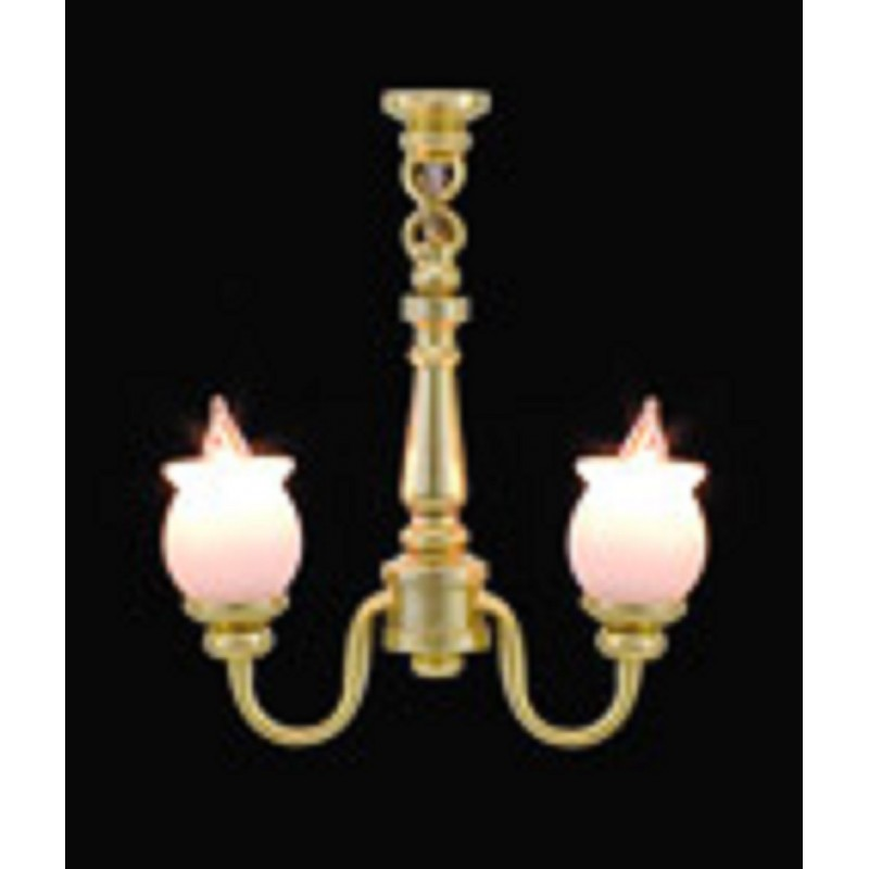 Dolls House 2 Arm Chandelier Frosted Shades Miniature 1:24 Electric Lighting