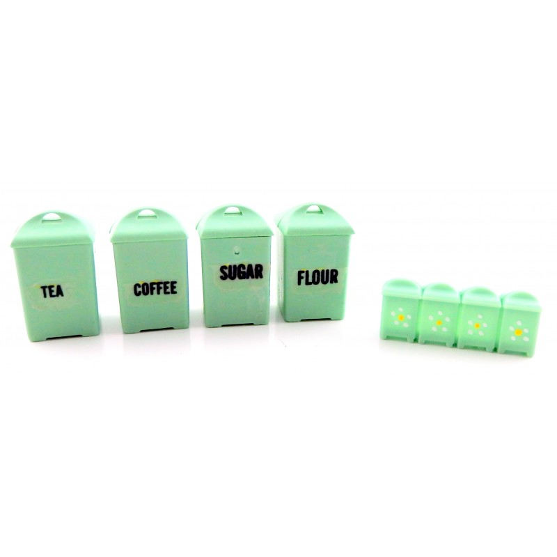 Dolls House Green Canister Set Storage Jars Jadite Miniature Kitchen Accessory