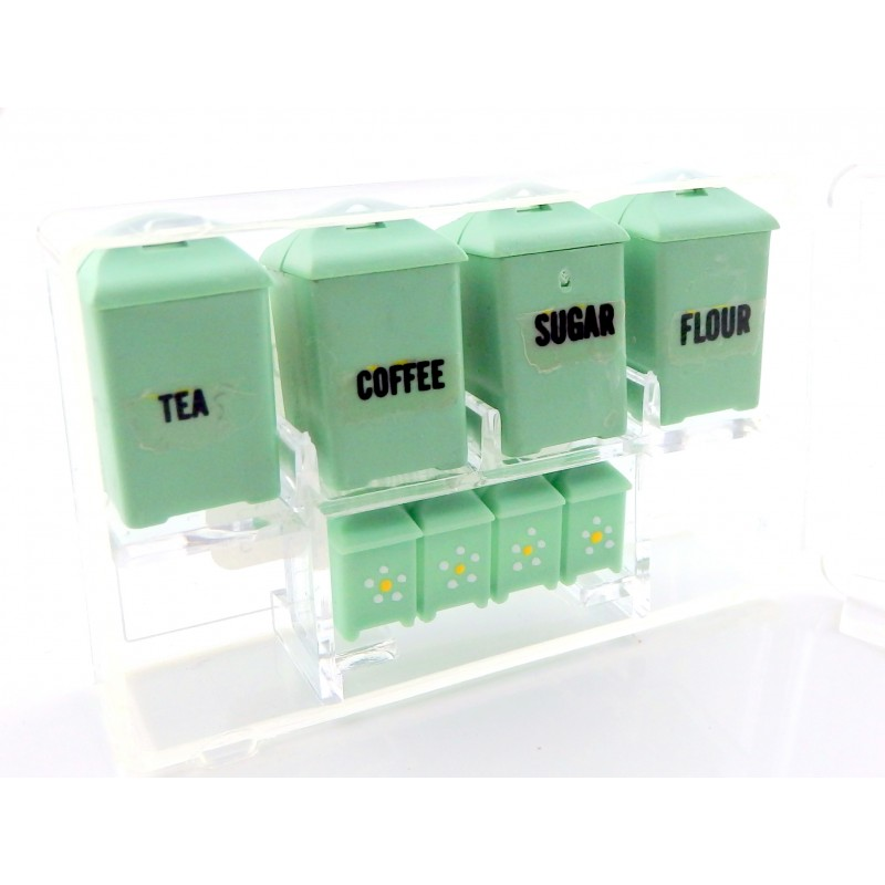 Dolls House Jadite Green Canister Set Storage Jars Miniature Kitchen Accessory