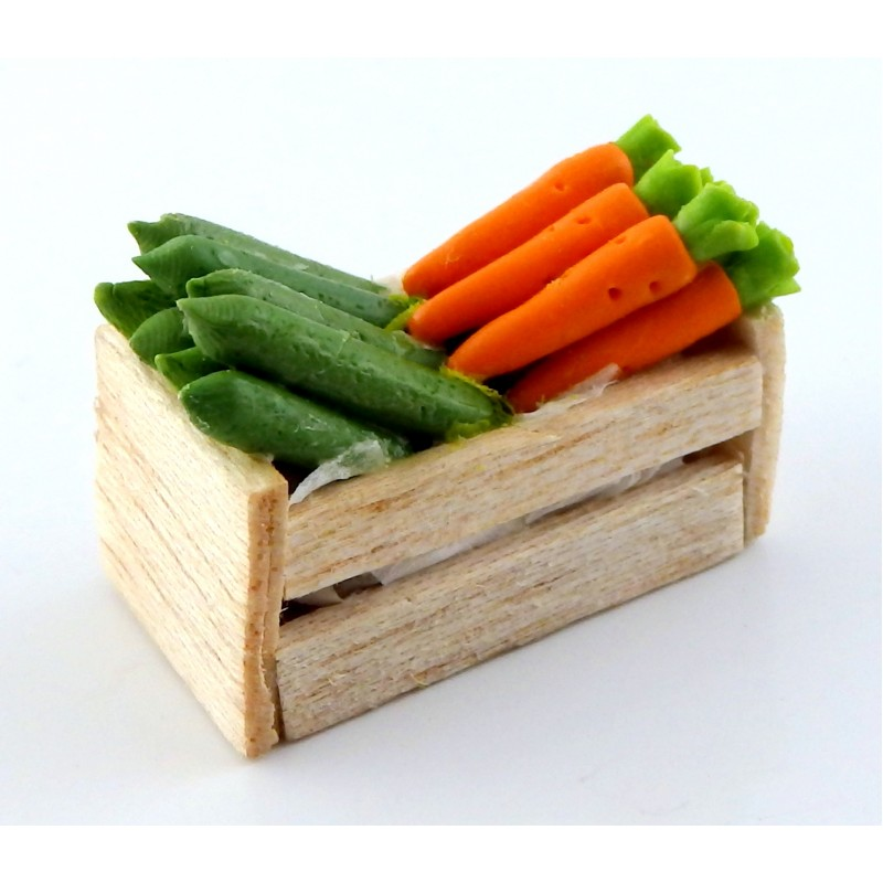 Dolls House Box Crate of Courgettes & Carrots Greengrocers Store Shop Accessory