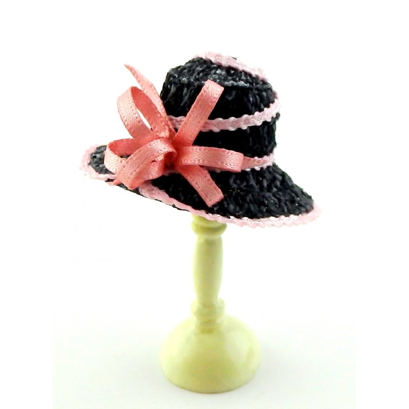 Dolls House Black Hat with Pink Edging & Bow Miniature Millinery Shop Accessory