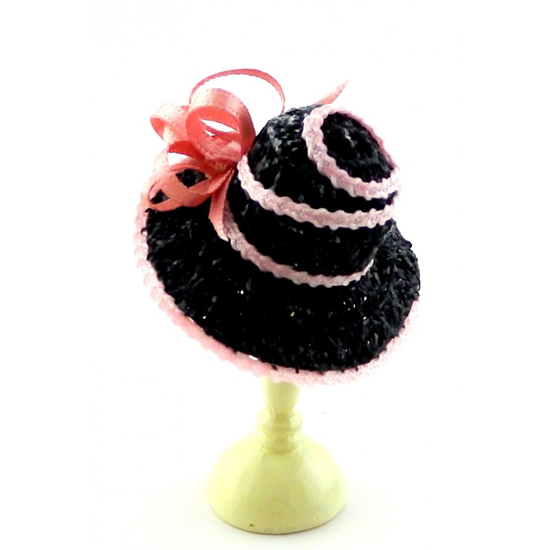 Dolls House Black Hat Pink Edging & Bow Miniature Millinery Lady Shop Accessory
