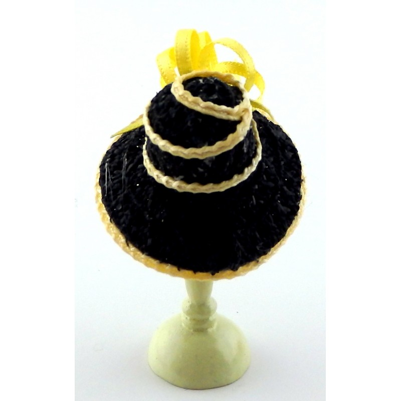 Dolls House Black Hat Lemon Edging & Bow Miniature Millinery Lady Shop Accessory