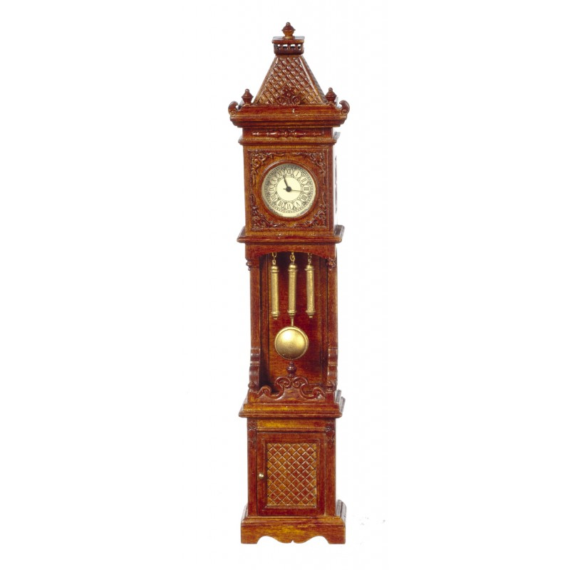 Dolls House Working Walnut Gothic Victorian Grandfather Clock JBM Miniatures
