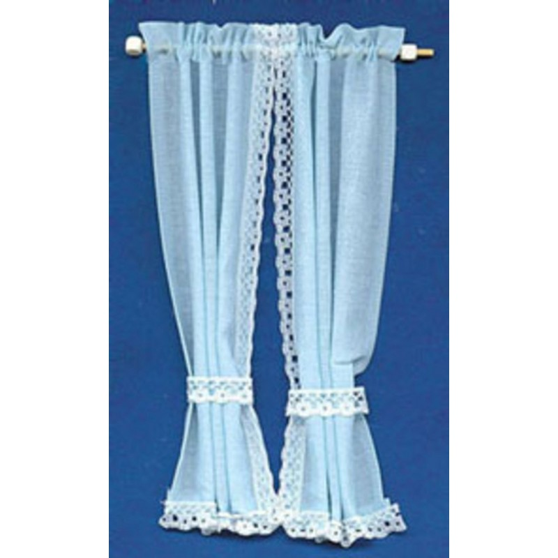 Dolls House Baby Blue Curtains Drapes on Rail Miniature 1:12 Window Accessory