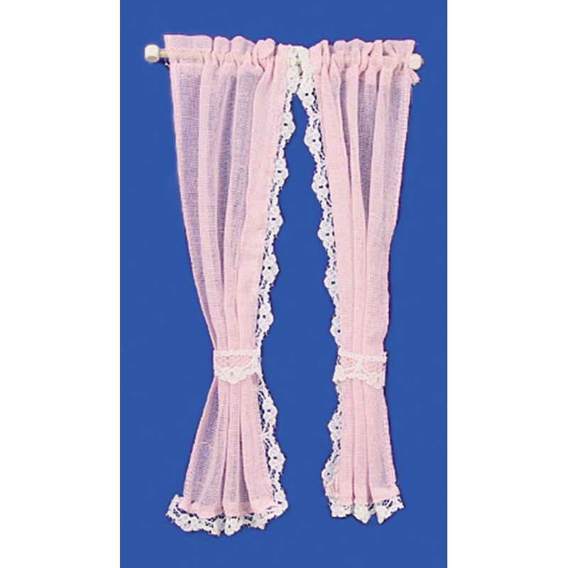 Dolls House PInk Sheer Curtains on Rail Miniature 1:12 Scale Window Accessory