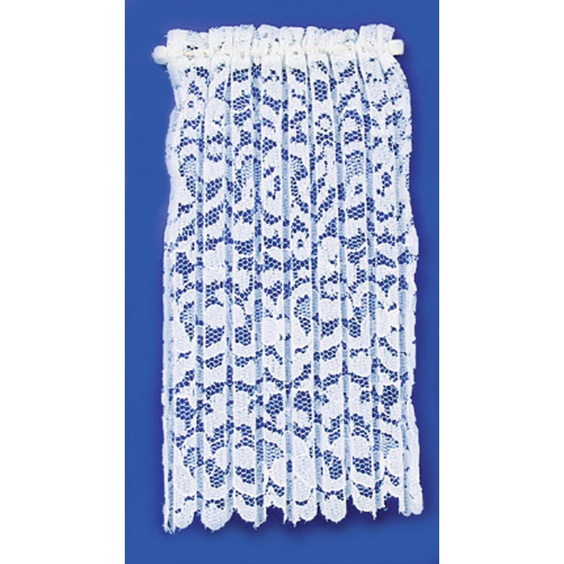 Dolls House Long White Lace Net Curtain Panel Miniature Window Accessory 1:12