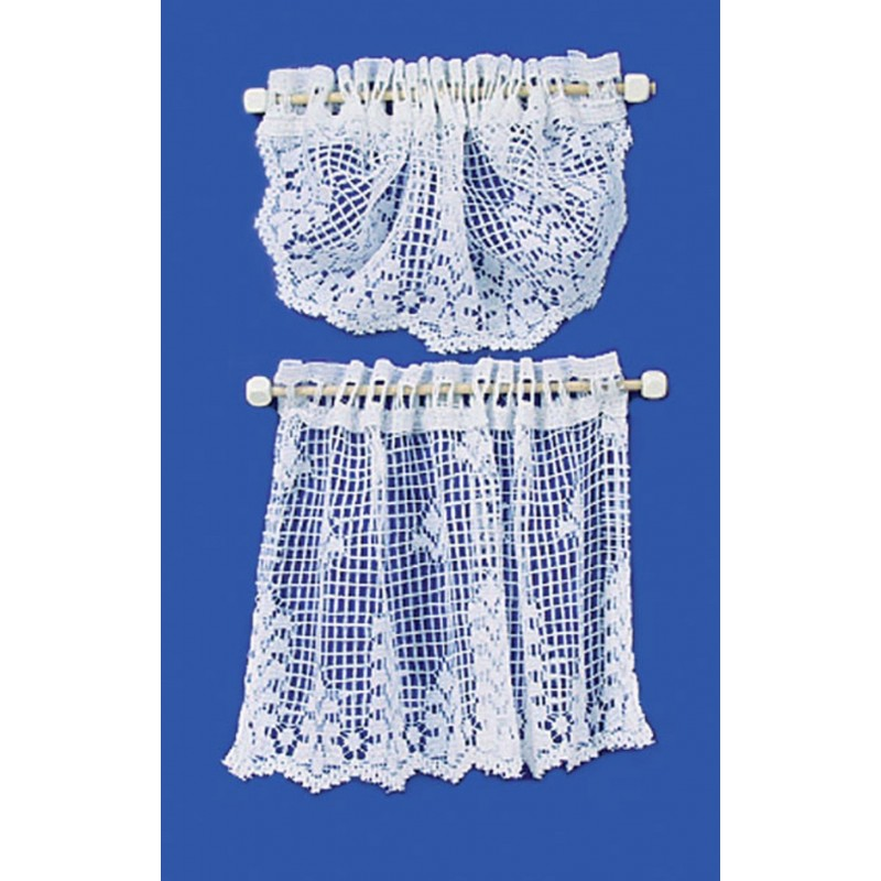 Dolls House White Crochet Swag & Curtain Net Lace Miniature Window Accessory