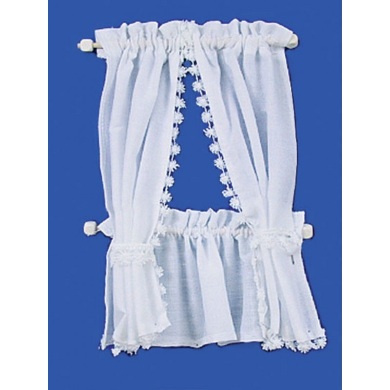 Dolls House White Cabin Curtain Tie Back Set Miniature 1:12 Window Accessory