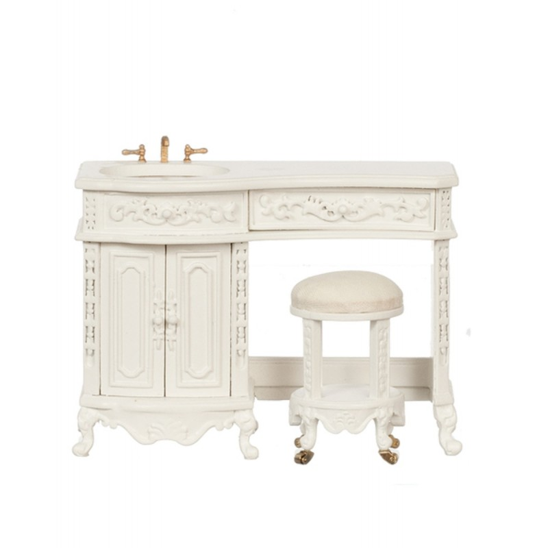 Dolls House White Avalon Sink & Stool Platinum Collection Bathroom Furniture
